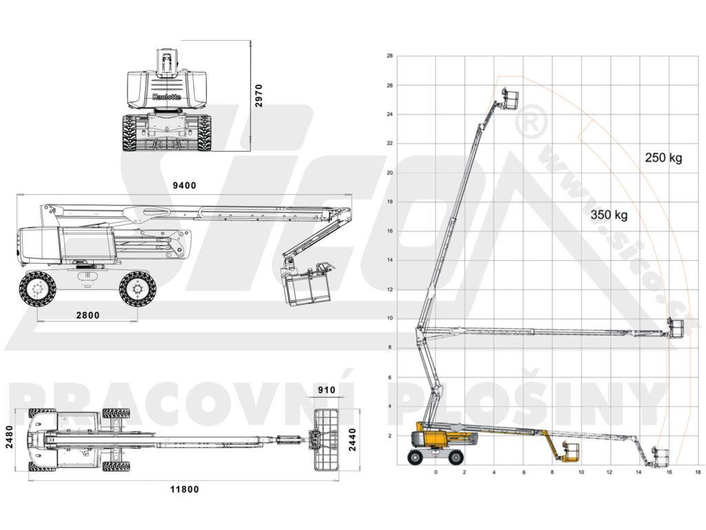 Haulotte HA 26 RTJ PRO - pracovní diagram a rozměry