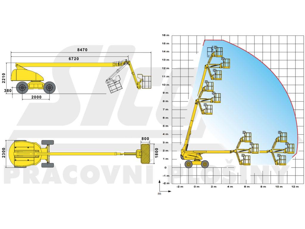 H 16 TPX - pracovní diagram a rozměry