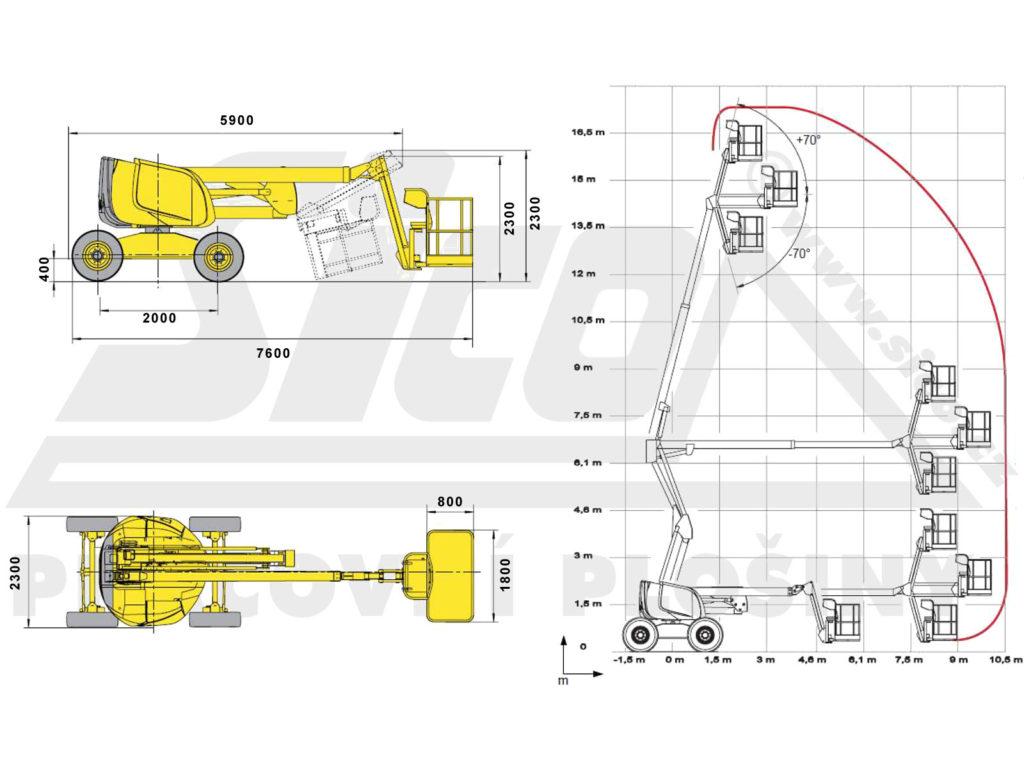 Haulotte HA 18 PX - pracovní diagram a rozměry