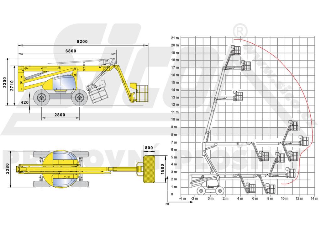 Haulotte HA 20 PX - pracovní diagram a rozměry