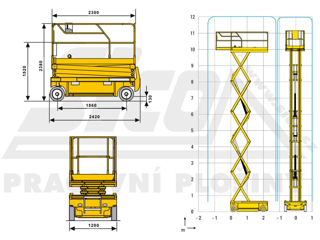 Haulotte Compact 12 - pracovní diagram a rozměry