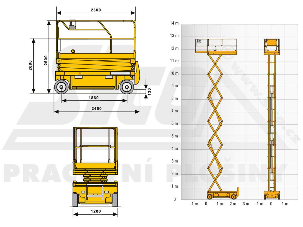 Haulotte Compact 14 - pracovní diagram a rozměry