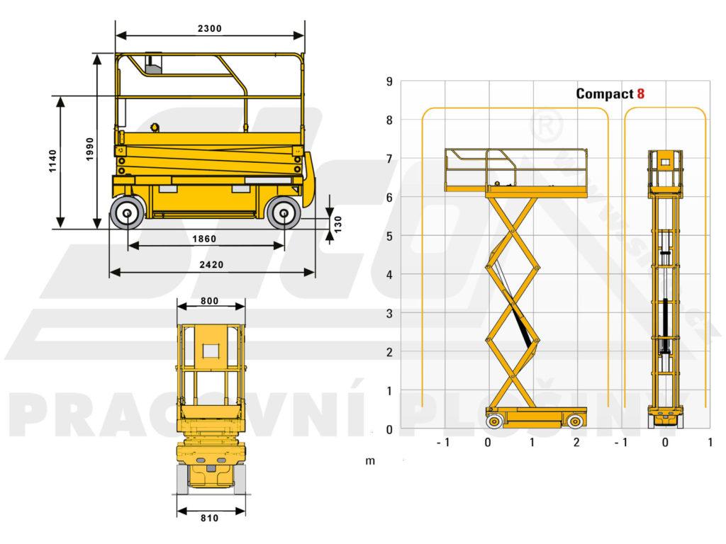 Haulotte Compact 8 - pracovní diagram a rozměry