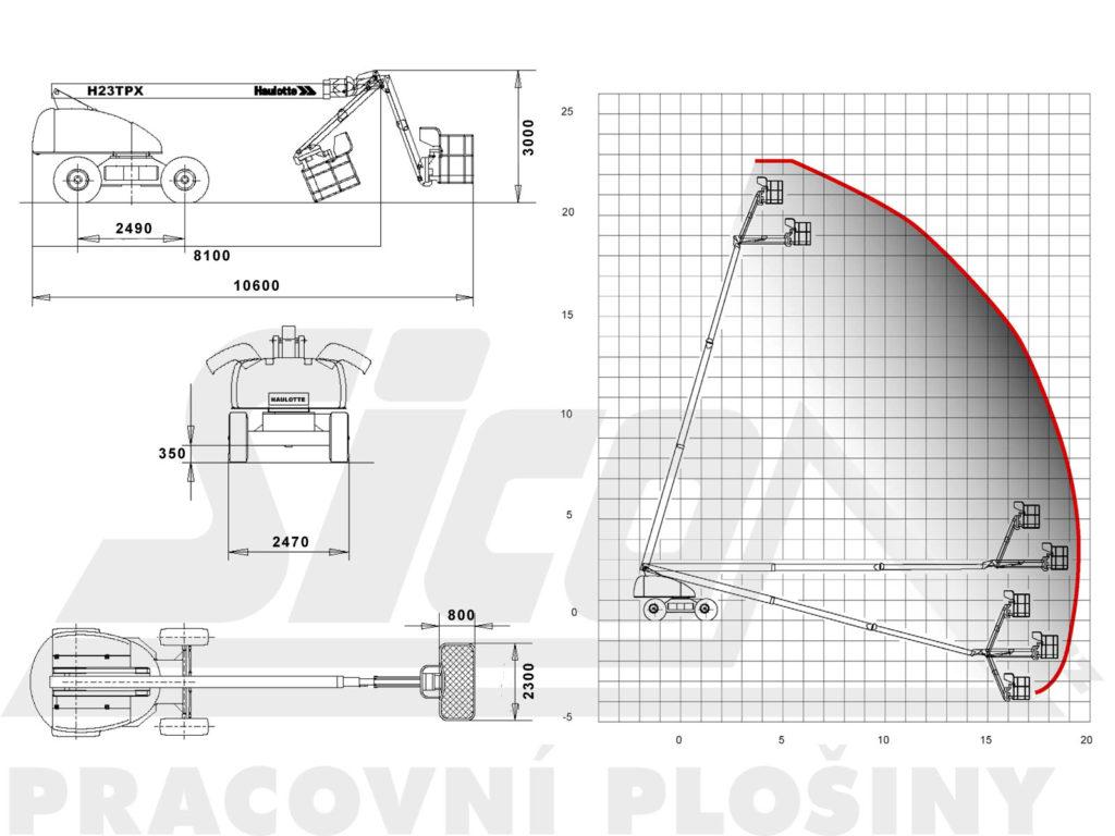 Haulotte H 23 TPX - pracovní diagram a rozměry