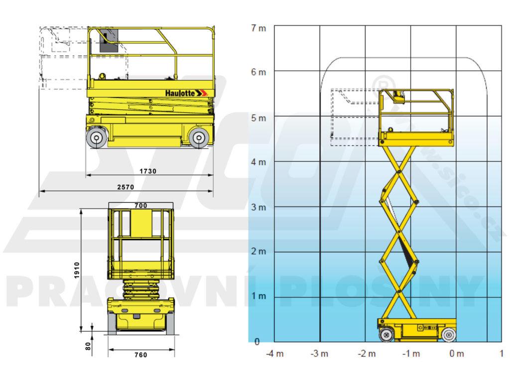 Haulotte Optimum 6 - pracovní diagram a rozměry