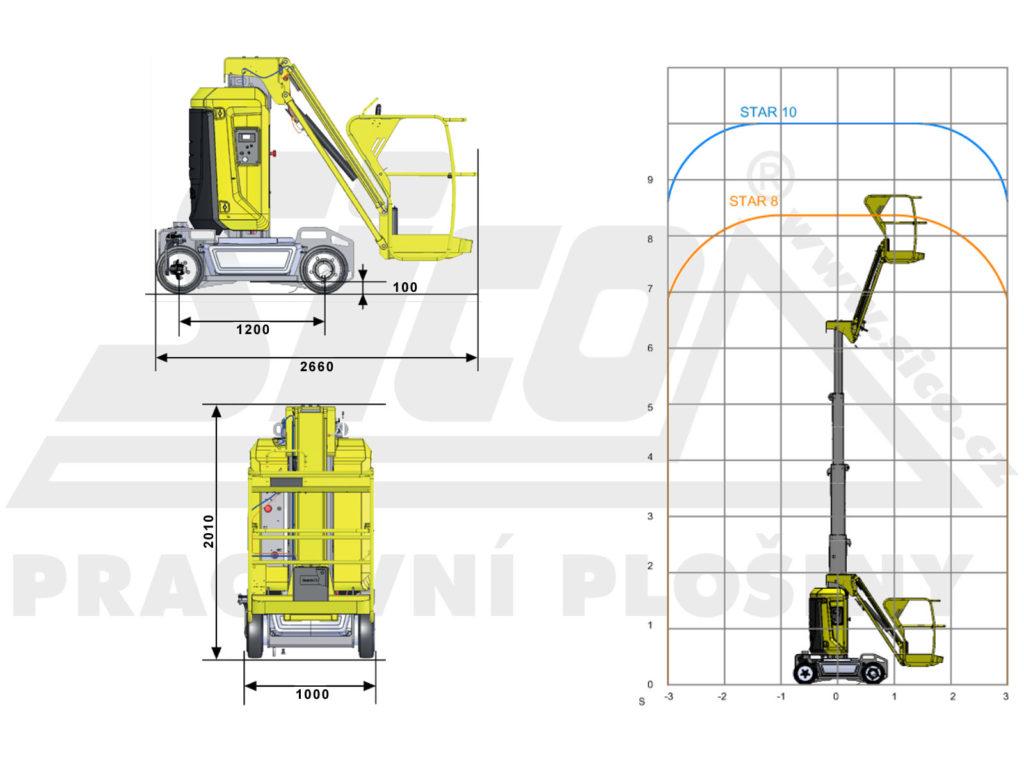 Haulotte STAR 10 - pracovní diagram a rozměry