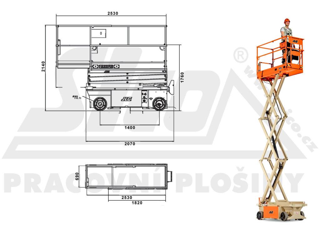 JLG 6 RS - pracovní diagram a rozměry
