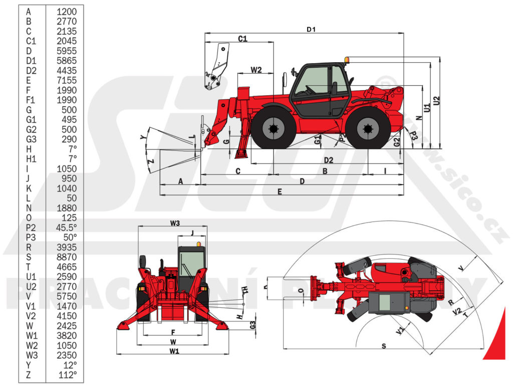 Manitou MT 1340 SLT - rozměry