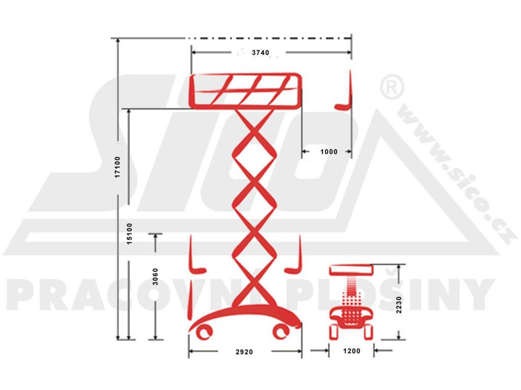 PB S172 - 12E - pracovní diagram a rozměry