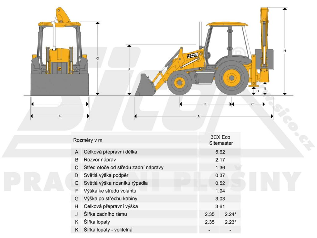 JCB 3CX Eco Sitemaster - rozměry
