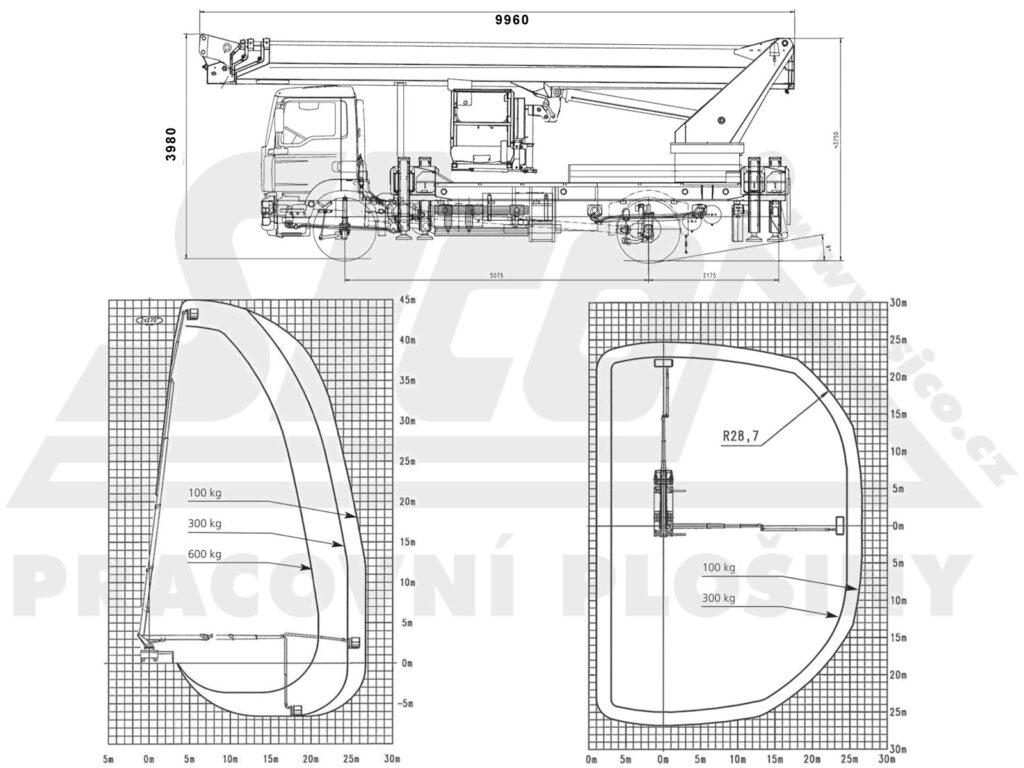 pracovní diagram MAN TGM 4x4 Wumag WT450 - negativní dosah